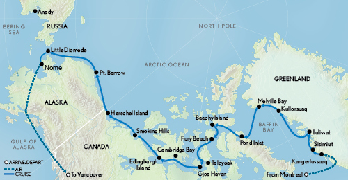 Map for The Northwest Passage: Greenland & The Bering Sea