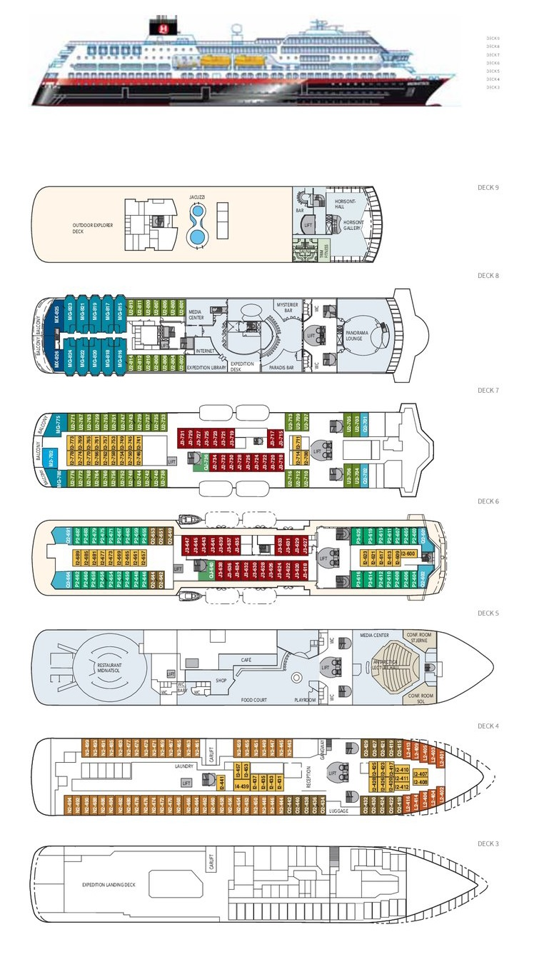 Cabin layout for MS Midnatsol