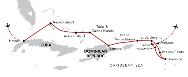 Map for An Island Hopping Caribbean Odyssey