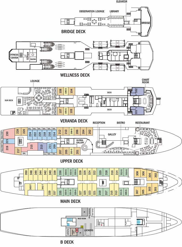 Cabin layout for National Geographic Explorer