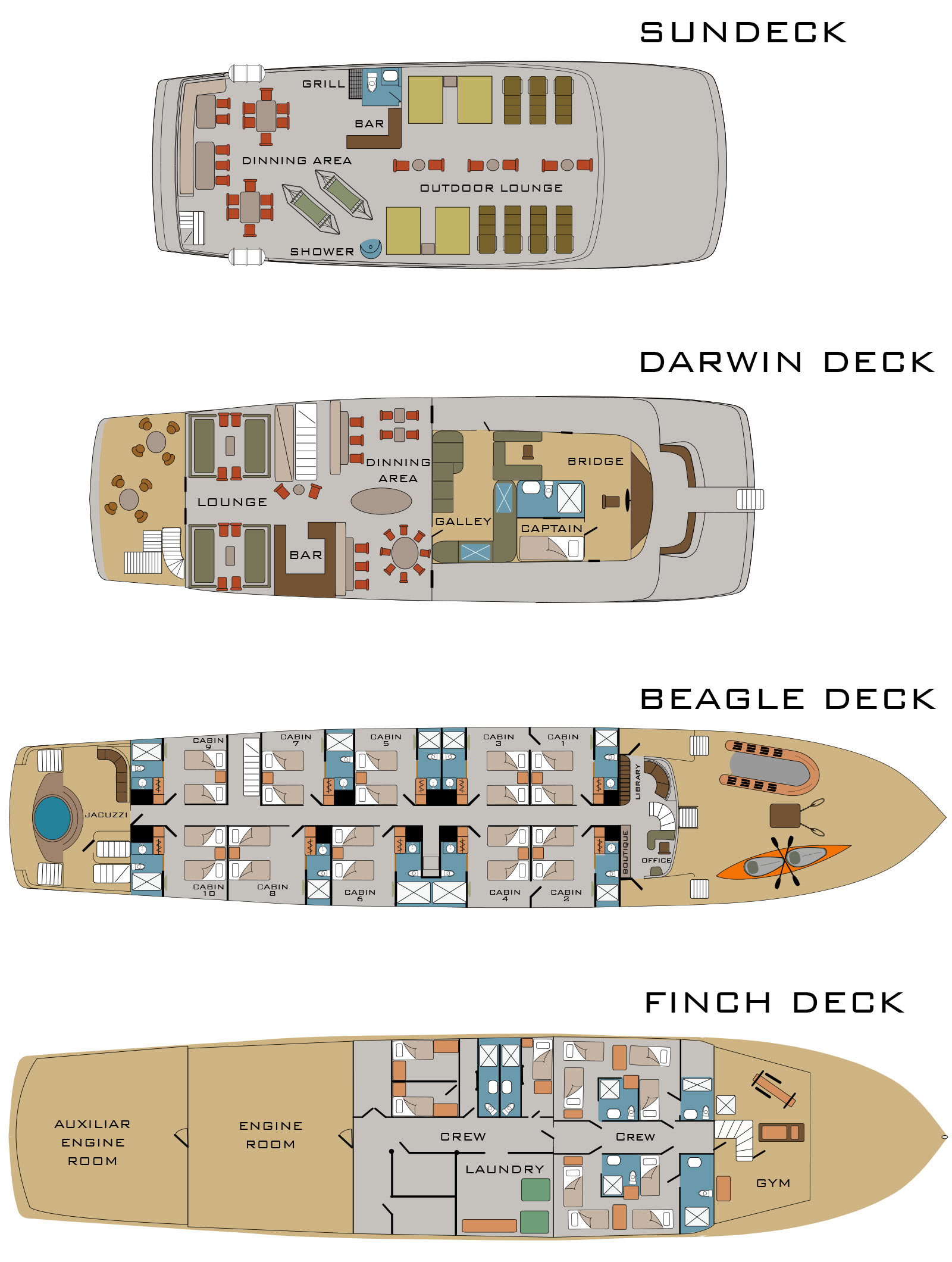 Cabin layout for Origin and Theory