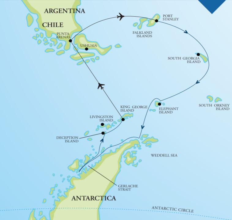 Map for Falklands, South Georgia & Antarctica 17 Days (Vavilov)
