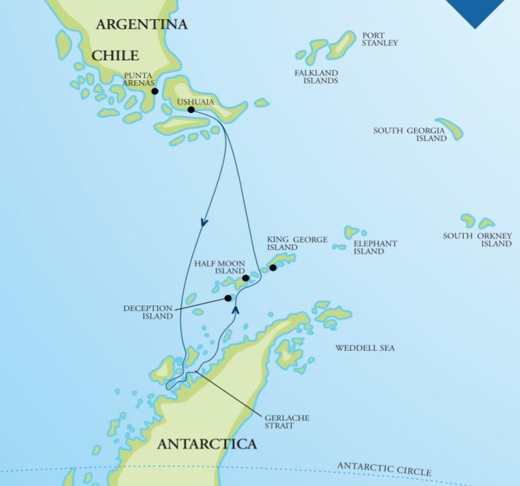 Map for Antarctic Peninsula Adventure (Akademik Vavilov)