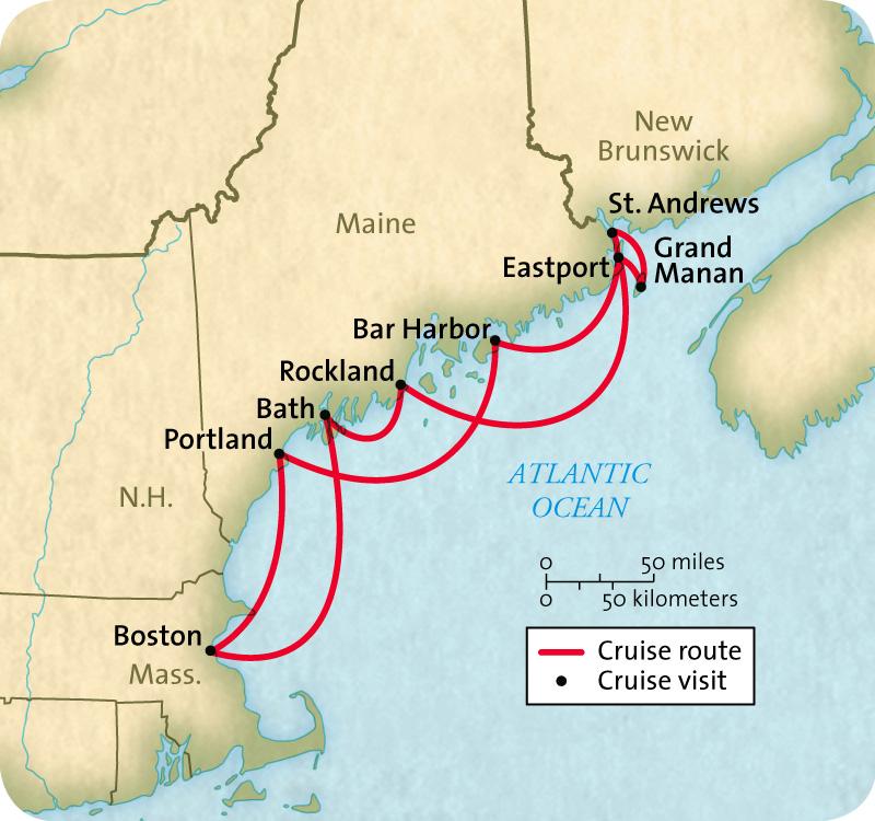 Map for Maine and New Brunswick (Grande Mariner)