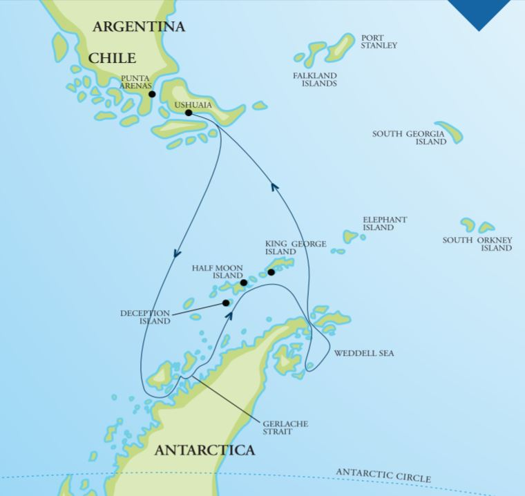 Map for Christmas in Antarctica & the Weddell Sea 2019 (Akademik Ioffe)