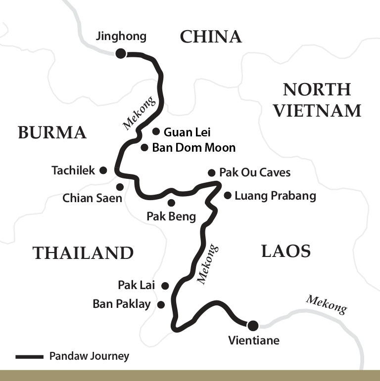 Map for The Mekong River: Laos to China Downstream (Sabaidee Pandaw)