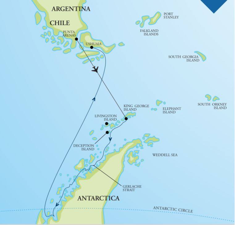 Map for Antarctica – 'In Depth' With Antarctic Circle Crossing