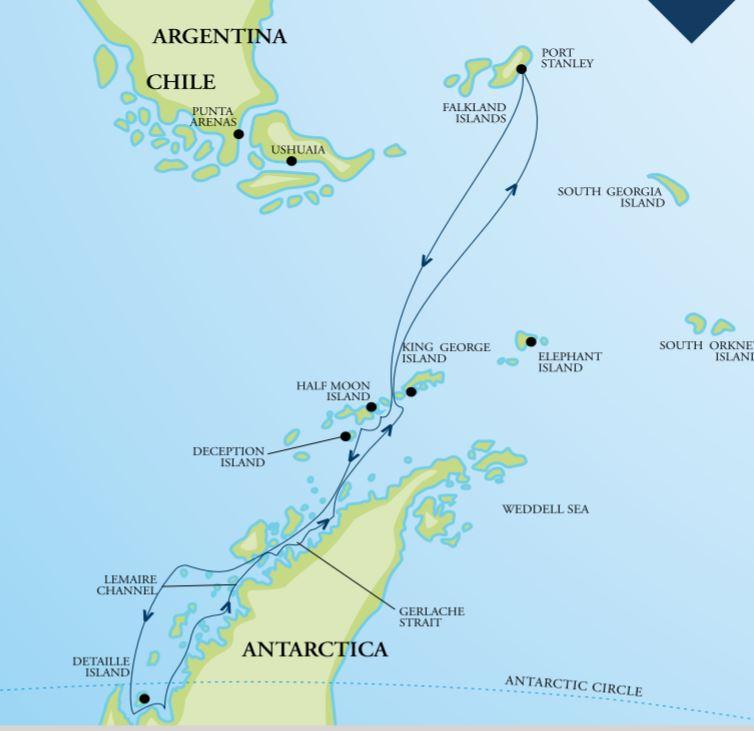 Map for Journey Below the Antarctic Circle 2020 (RCGS Resolute)