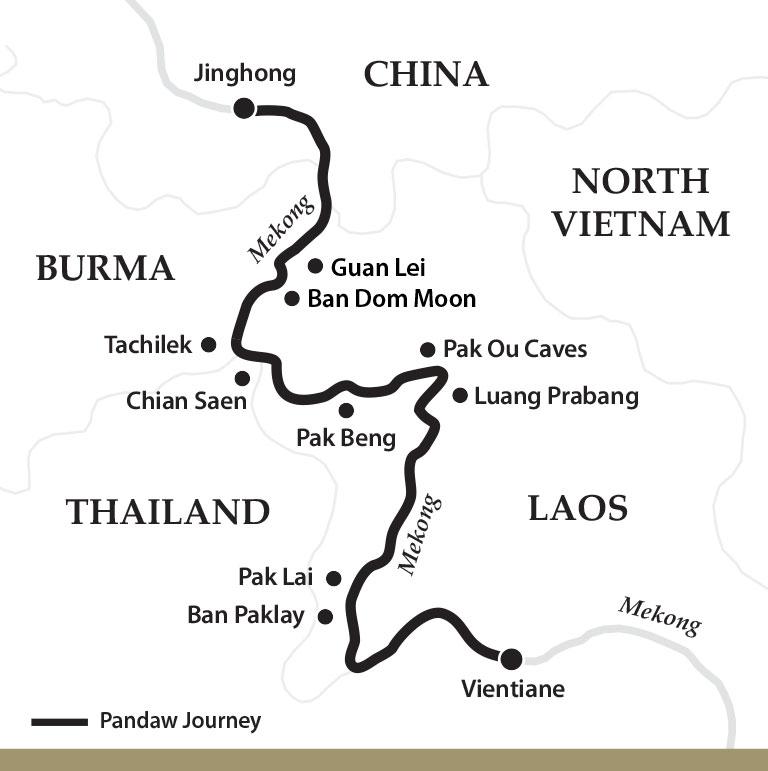 Map for The Mekong River: Laos to China Upstream (Sabaidee Pandaw)