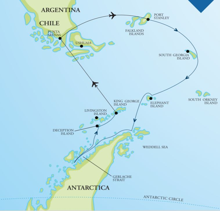 Map for Falklands, South Georgia & Antarctica 18 Day Fly Cruise
