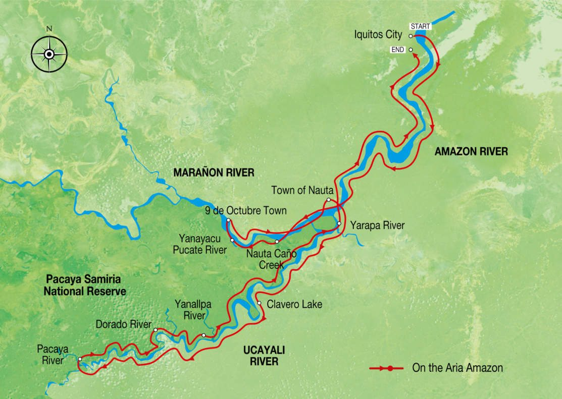 Map for Aria Amazon Expedition Cruise