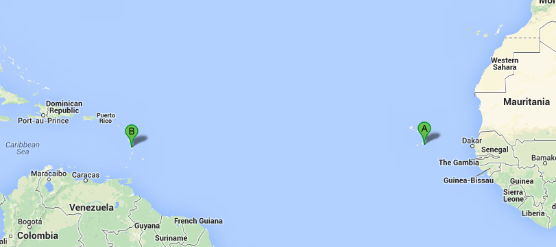 Map for Ocean Voyage: Praia to Fort de France