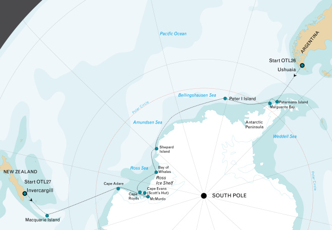 Map for Ross Sea to Antarctic Peninsula Voyage