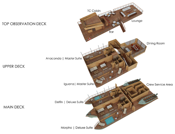 Cabin layout for Delfin I