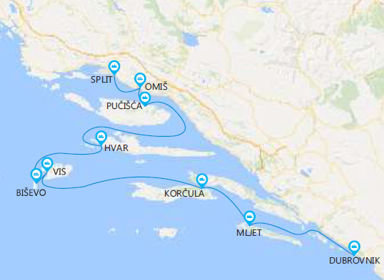 Map for Croatia Island Hopping Cruise from Split