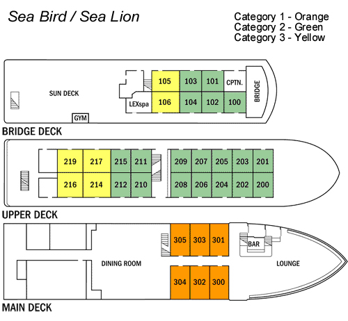 Cabin layout for National Geographic SeaBird & SeaLion