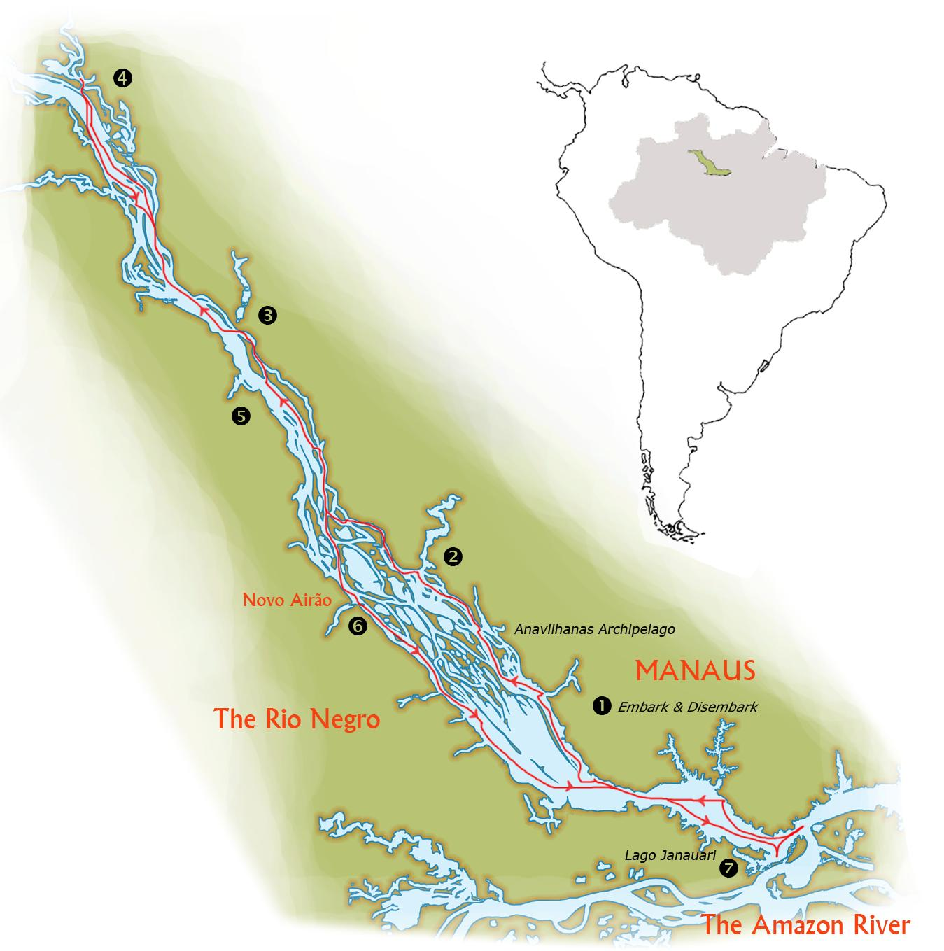 Map for Voyage to the Heart of the Amazon