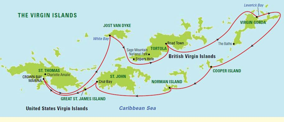 Map for hidden caribbean u s british virgin islands