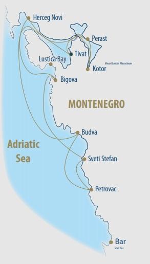 Map for Montenegro Coastal Sailing Cruise