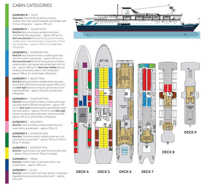 Cabin layout for Ocean Endeavour