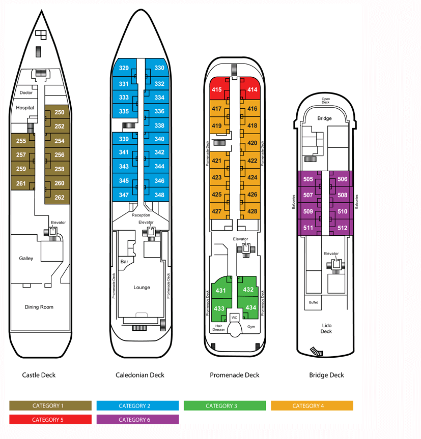 Cabin layout for Caledonian Sky ZE