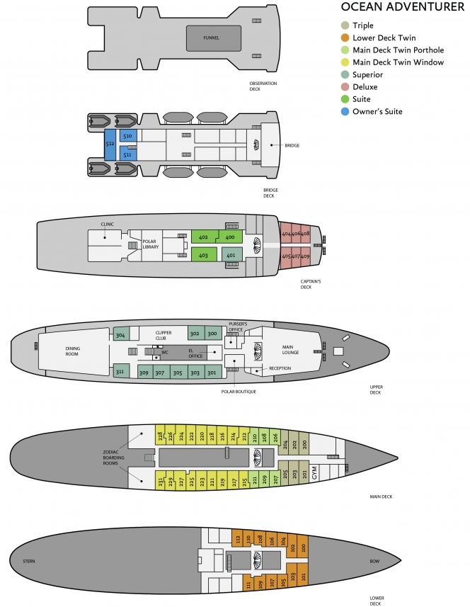 Cabin layout for Ocean Adventurer (Sea Adventurer)