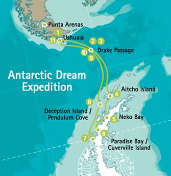 Map for Antarctic Dream Expedition