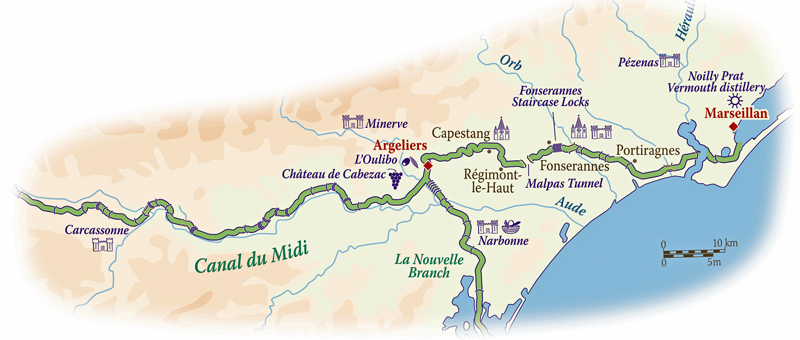 Map for Canal du Midi Cruise (Athos)
