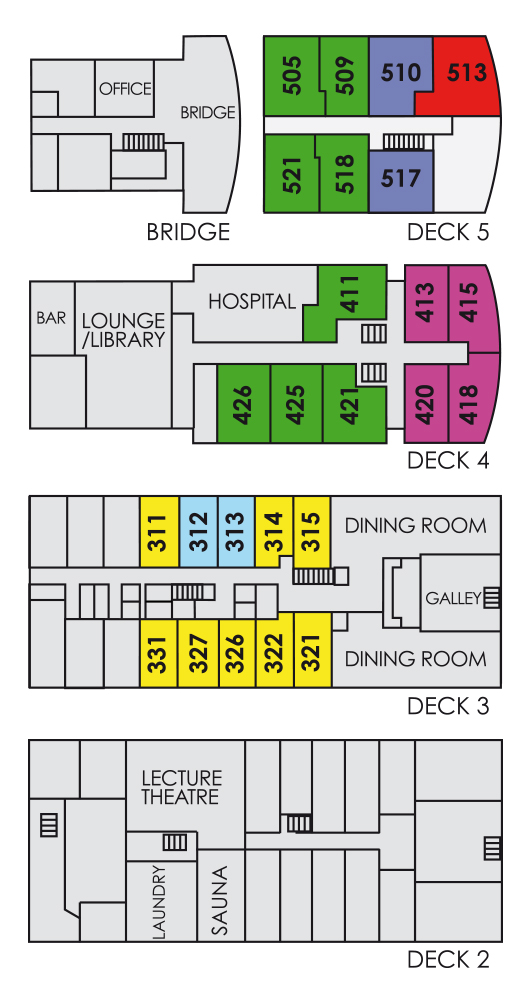 Cabin layout for Akademik Shokalskiy