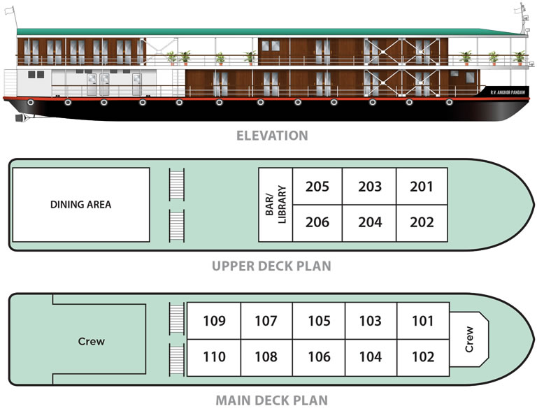 Cabin layout for Angkor Pandaw