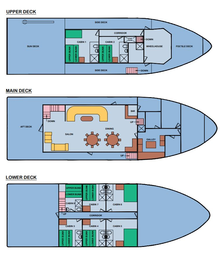Cabin layout for Cachalote Explorer