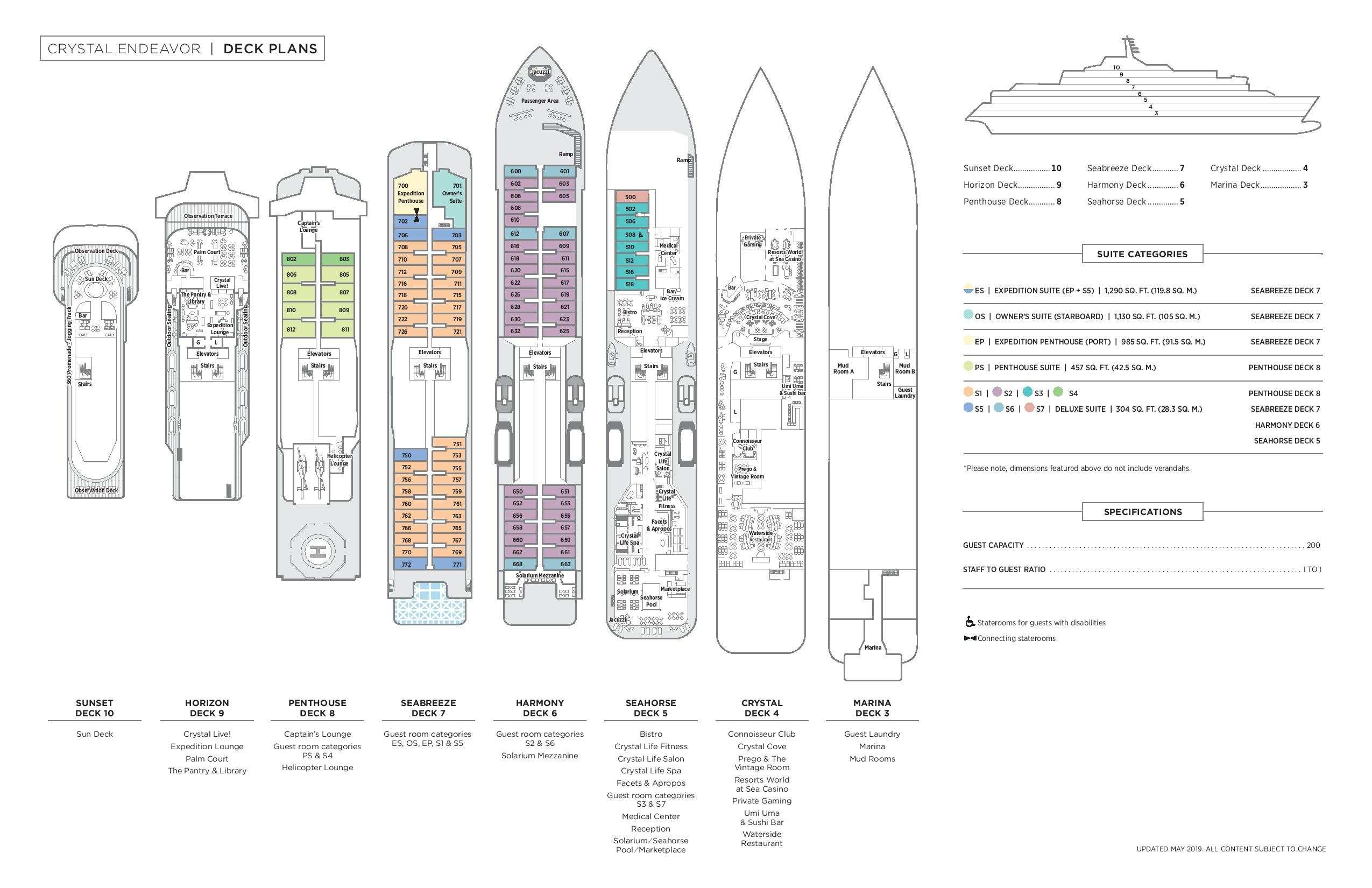Cabin layout for Crystal Endeavor
