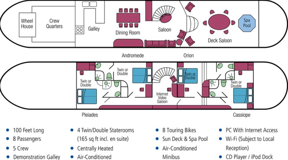 Cabin layout for Enchante