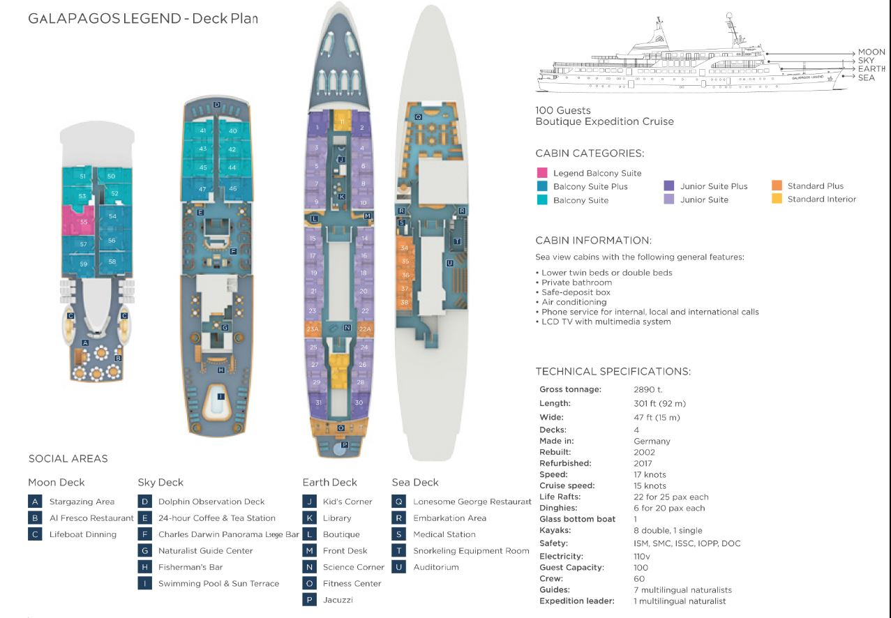 Cabin layout for Galapagos Legend
