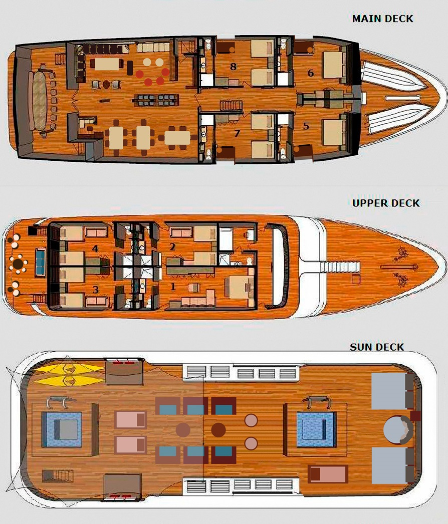Cabin layout for Galapagos Sea Star