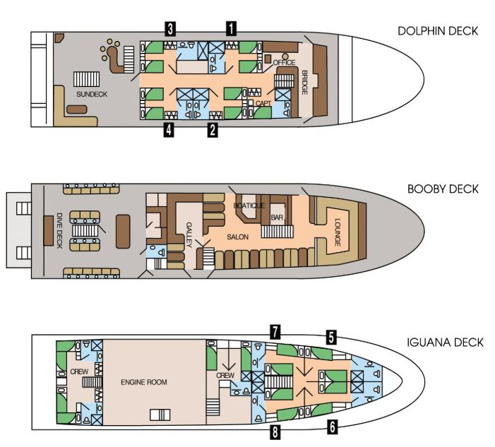 Cabin layout for Galapagos Sky