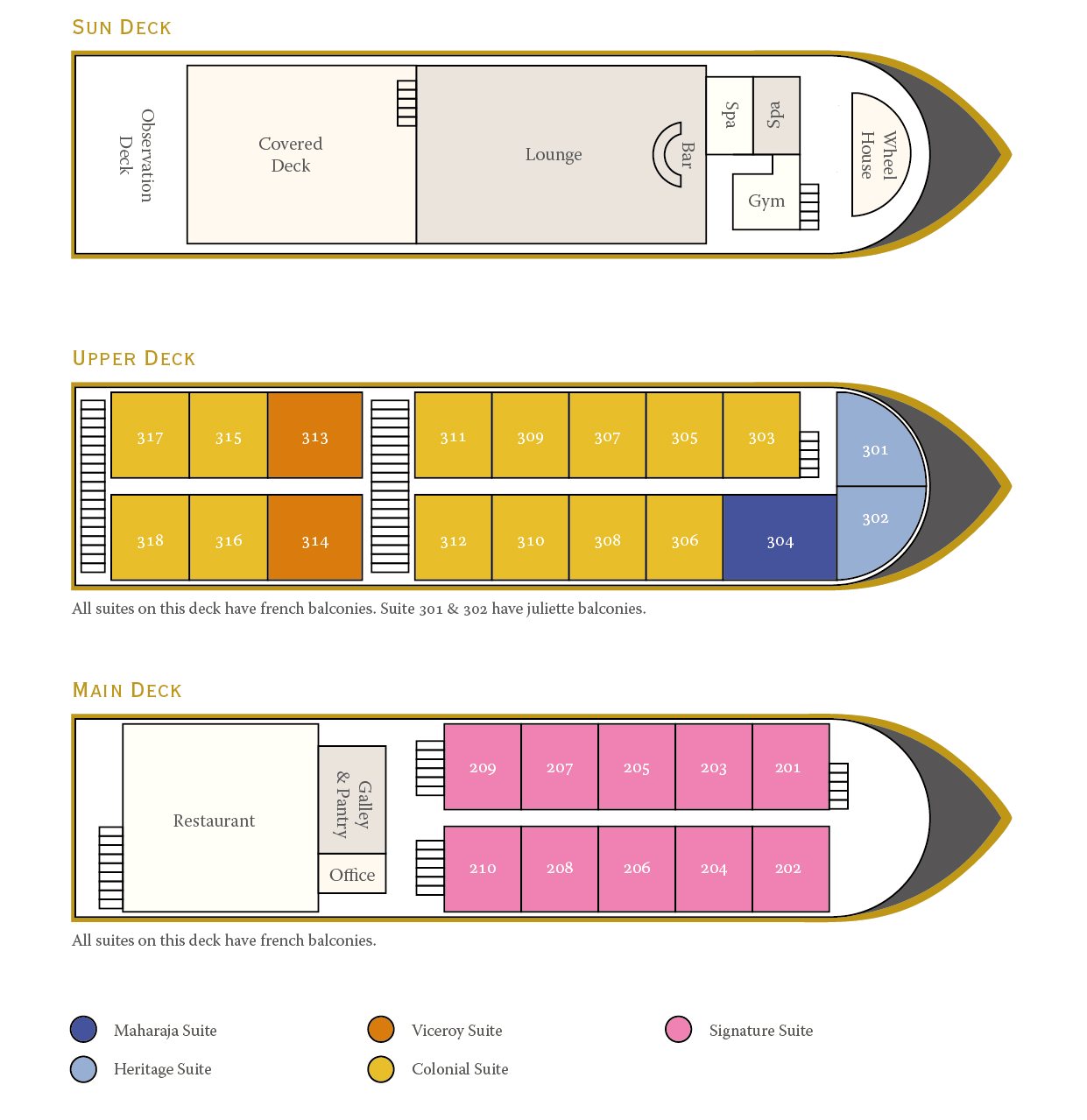 Cabin layout for Ganges Voyager I & II