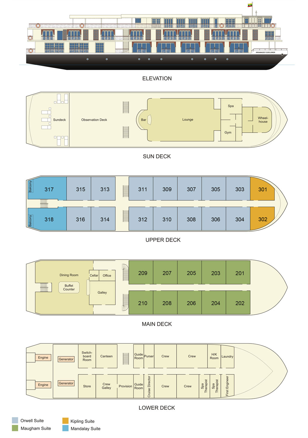 Cabin layout for Irrawaddy Explorer