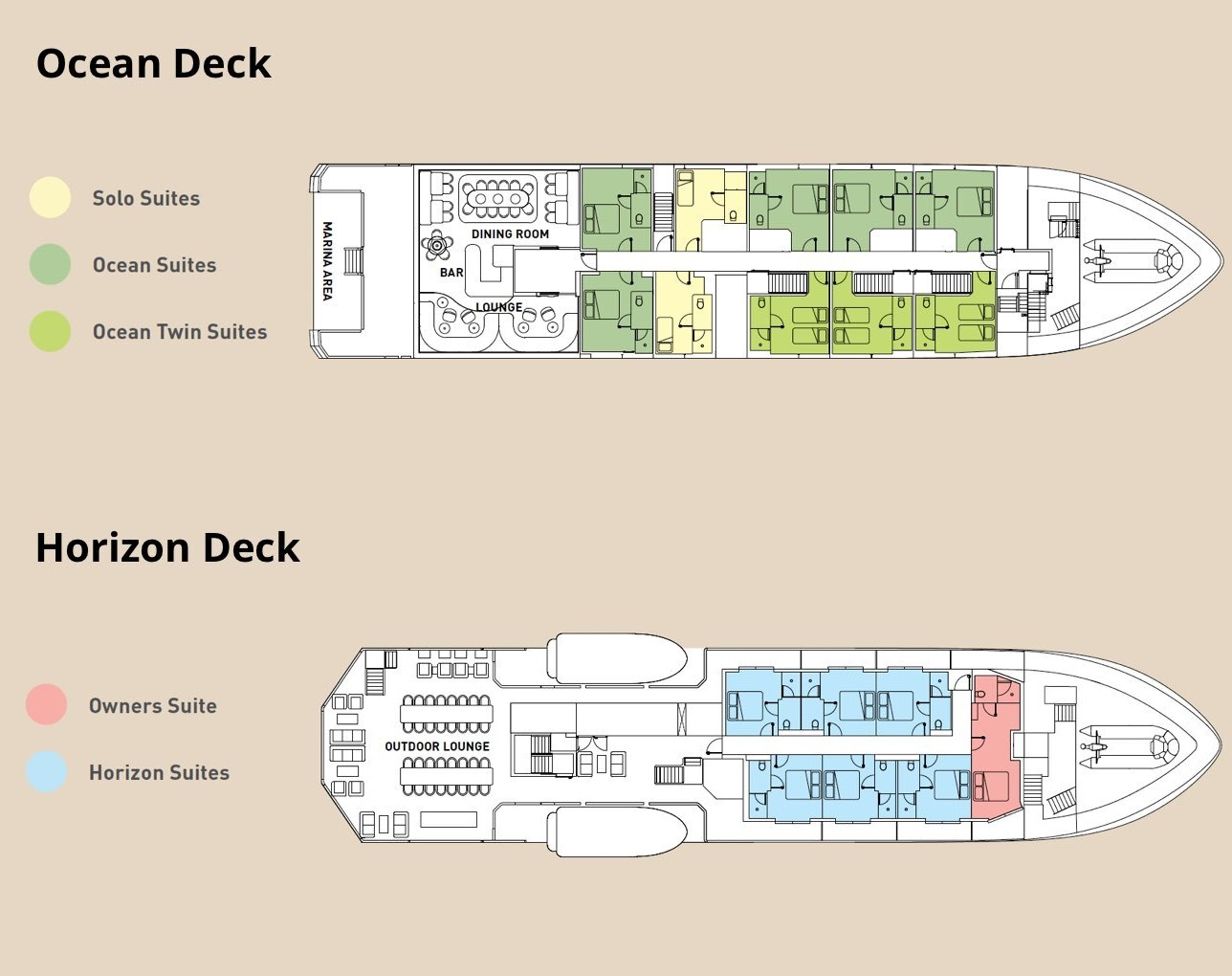 Cabin layout for Island Escape