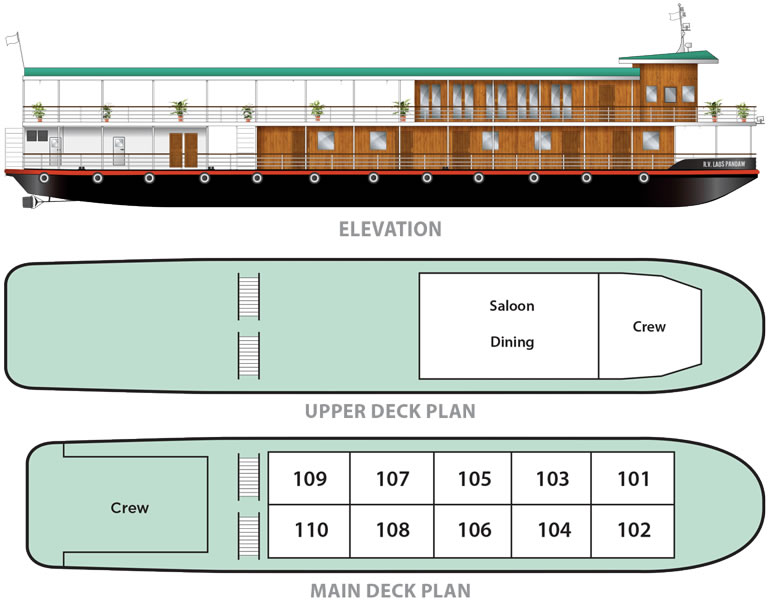 Cabin layout for Laos Pandaw