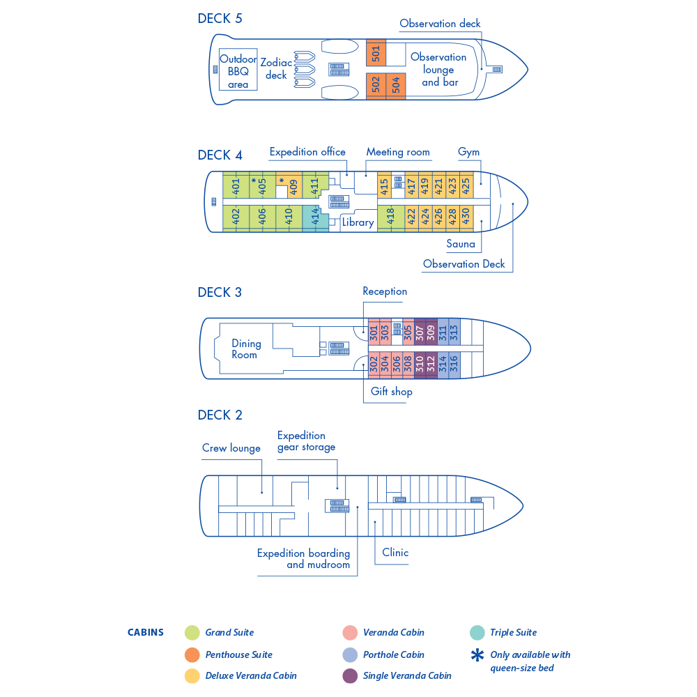 Cabin layout for Magellan Explorer