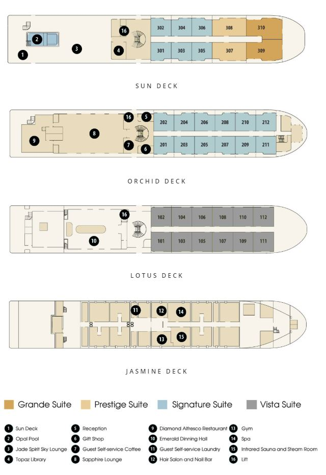 Cabin layout for Mekong Jewel