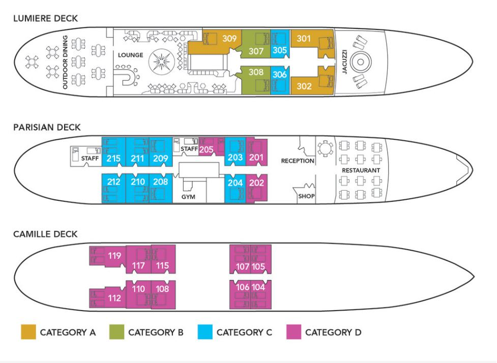 Cabin layout for Monet