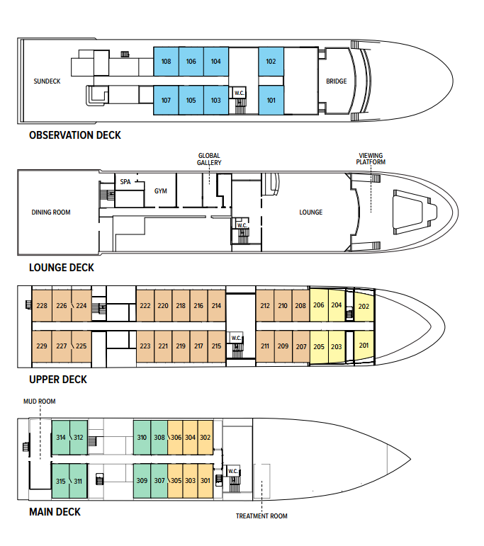 Cabin layout for National Geographic Quest