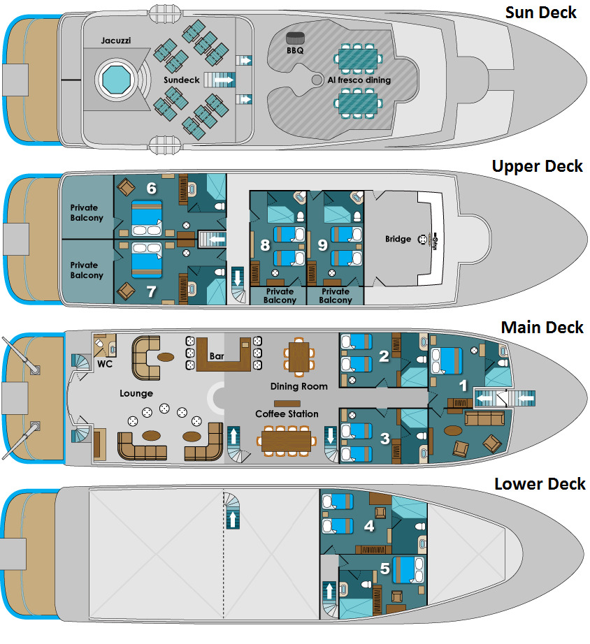 Cabin layout for Natural Paradise