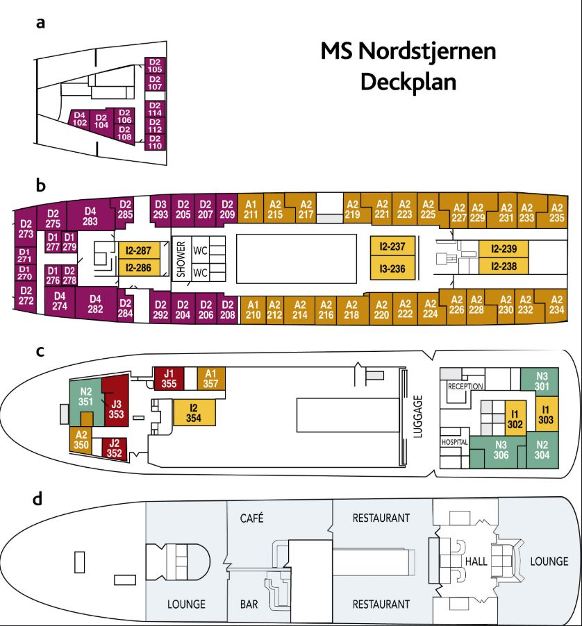 Cabin layout for Nordstjernen