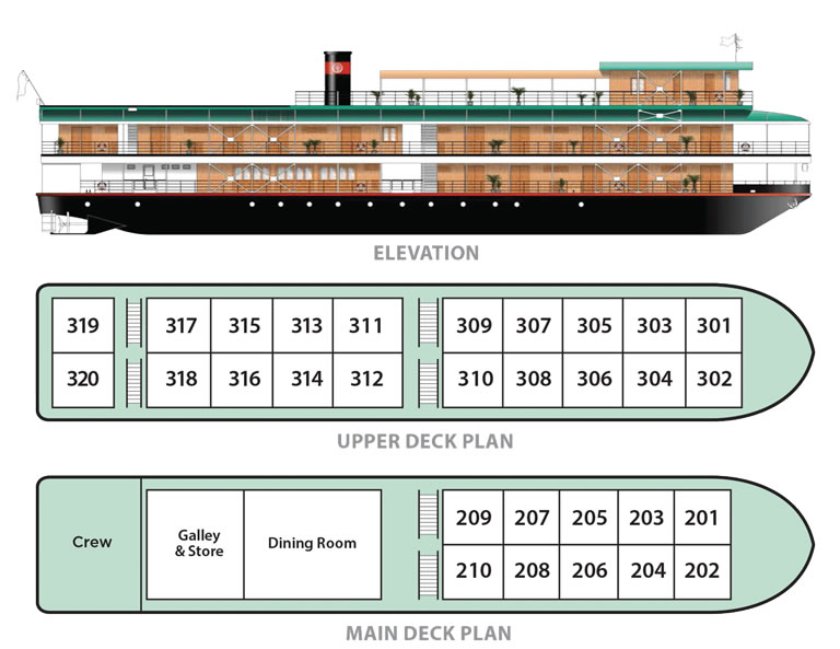 Cabin layout for Orient Pandaw