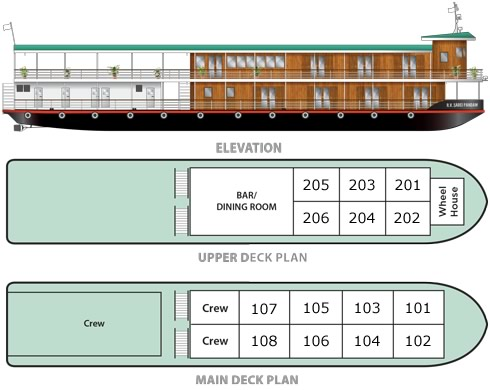 Cabin layout for Sabaidee Pandaw