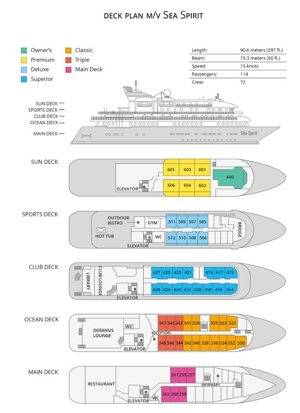 Cabin layout for Sea Spirit