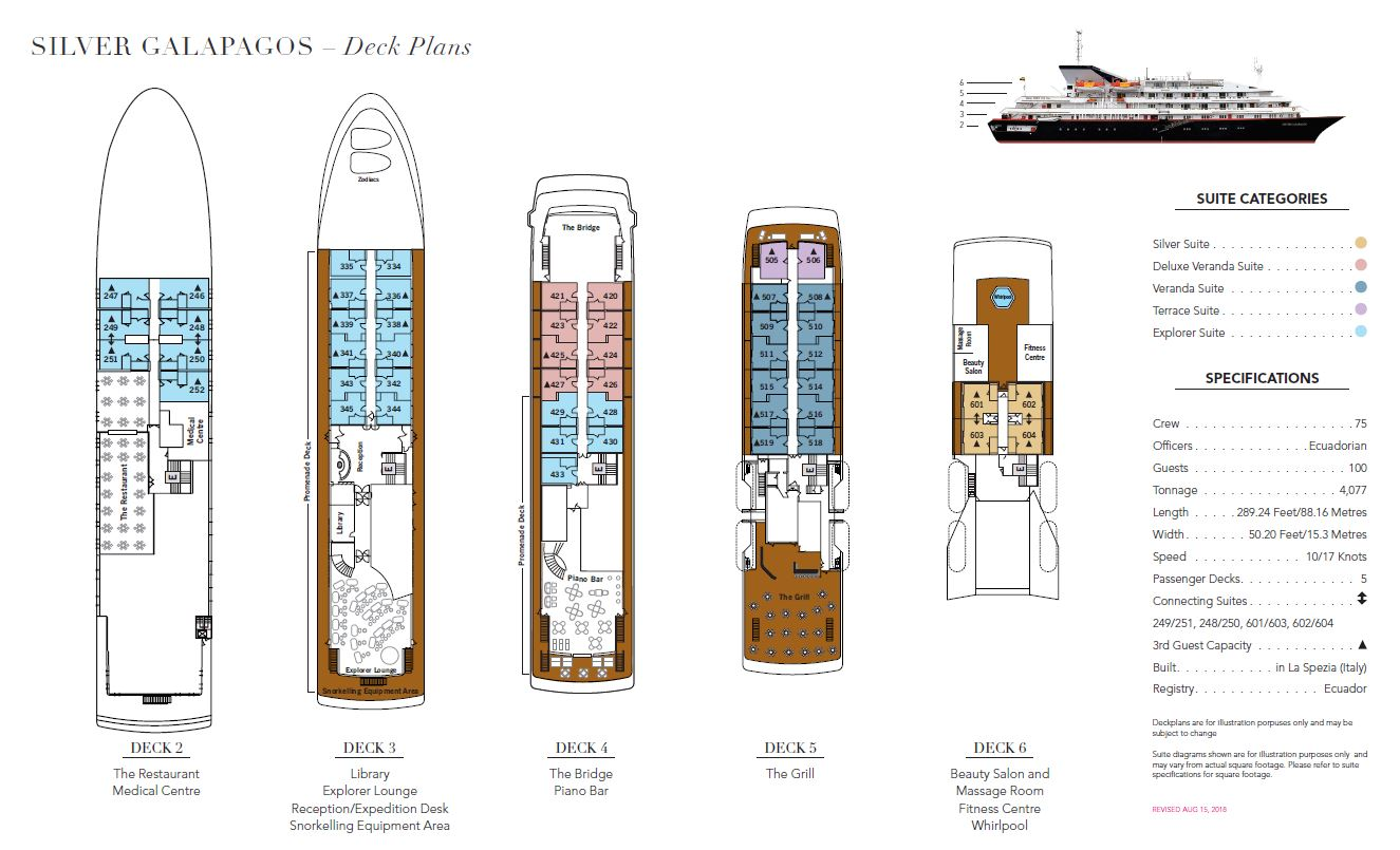 Cabin layout for Silver Galapagos